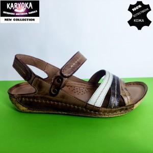 084-А-кафяво-KARYOKA ниски ортопедични кожени сандали