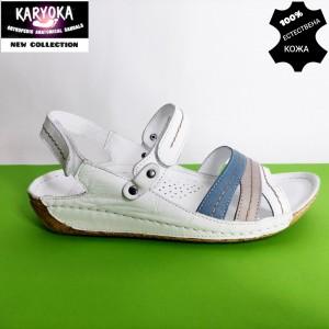 084-А-бяло-KARYOKA ниски кожени сандали