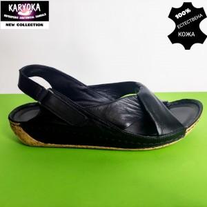 084-черно-KARYOKA ниски ортопедични кожени сандали