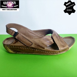 084-кафяво-KARYOKA ниски ортопедични кожени сандали