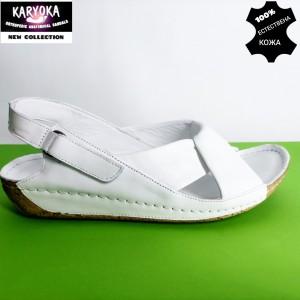 084-бяло-KARYOKA ниски ортопедични кожени сандали