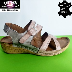 770-бежово-KARYOKA ниски анатомични кожени сандали
