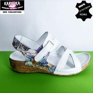 770-бяло-KARYOKA ниски анатомични кожени сандали