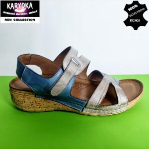 770-син-KARYOKA ниски анатомични кожени сандали