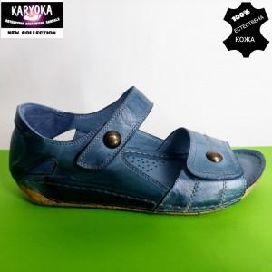 472-синьо-KARYOKA ниски ортопедични кожени сандали