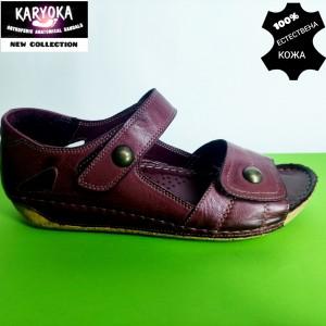 472-бордо-KARYOKA ниски ортопедични кожени сандали