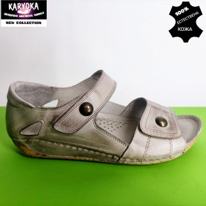 472-т.бежово-KARYOKA ниски ортопедични кожени сандали