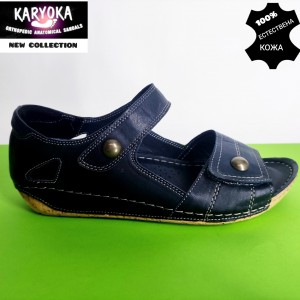 472-т.синьо-KARYOKA ниски ортопедични кожени сандали