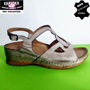 081-бежово-KARYOKA  анатомични сандали естествена кожа