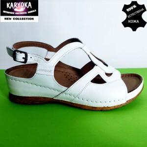 081-бяло-KARYOKA  анатомични сандали естествена кожа