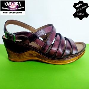 771-бордо-KARYOKA сандали естествена кожа