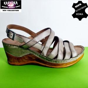 771-бежово-KARYOKA сандали естествена кожа