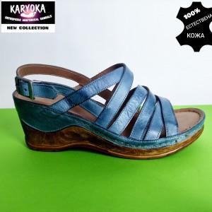 771-син-KARYOKA сандали естествена кожа