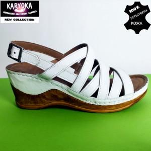 771-бяло-KARYOKA сандали естествена кожа