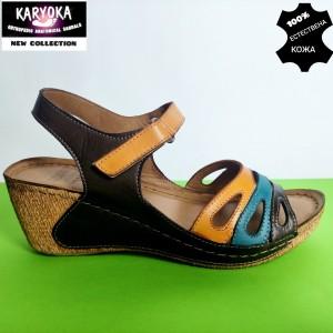 772-кафяв-KARYOKA сандали естествена кожа