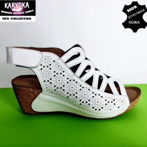 773-бяло-KARYOKA сандали естествена кожа