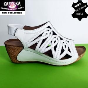 774-бяло-KARYOKA сандали естествена кожа