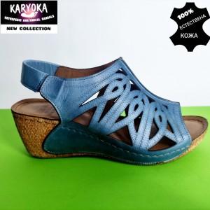 774-син-KARYOKA сандали естествена кожа