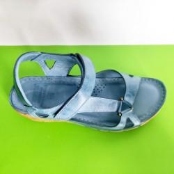 761-синьо-KARYOKA ниски ортопедични кожени сандали