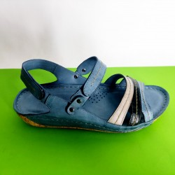 084-А-синьо-KARYOKA ниски ортопедични кожени сандали