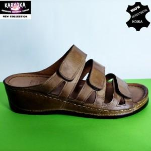 Мод:060-кафяво-KARYOKA кожени дамски чехли