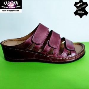Мод:060-бордо-KARYOKA кожени дамски чехли