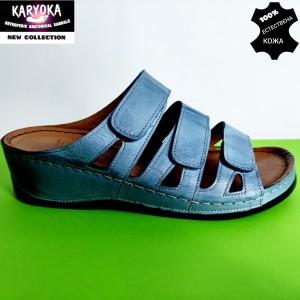Мод:060-синьо-KARYOKA кожени дамски чехли