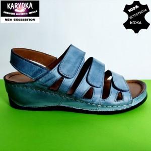 400-синьо KARYOKA ортопедични ниски кожени сандали