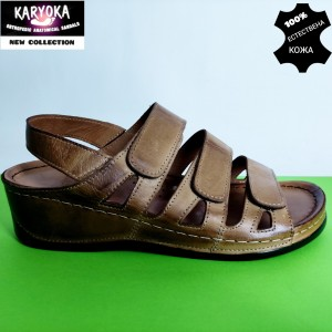 400-кафяво KARYOKA ортопедични ниски кожени сандали