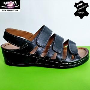 400-черно KARYOKA ортопедични ниски кожени сандали