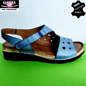 450-синьо-KARYOKA ниски ортопедични кожени сандали