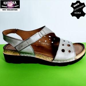 450-т.бежово-KARYOKA ниски ортопедични кожени сандали
