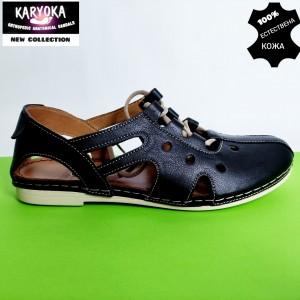 344-черно-KARYOKA ниски кожени летни обувки