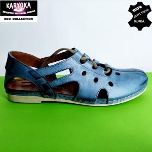 344-син-KARYOKA ниски кожени летни обувки
