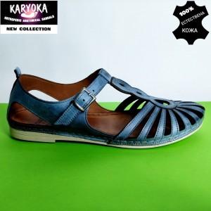 345-син-KARYOKA ниски кожени летни обувки