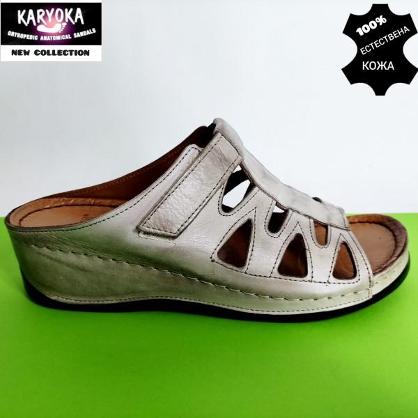 062-тъмно бежово- KARYOKA кожени ортопедични чехли