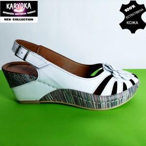 456-бяло KARYOKA-сандали от естествена кожа
