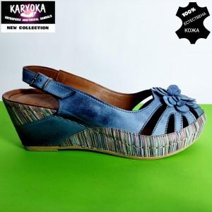456-син KARYOKA-сандали от естествена кожа
