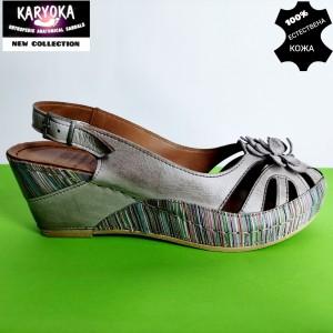 456-т.бежово KARYOKA-сандали от естествена кожа