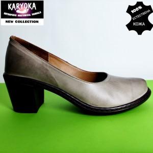 Мод:470 KARYOKA-обувки от естествена кожа на ток