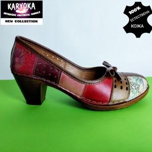 Мод:463-А KARYOKA-сандали от естествена кожа на ток