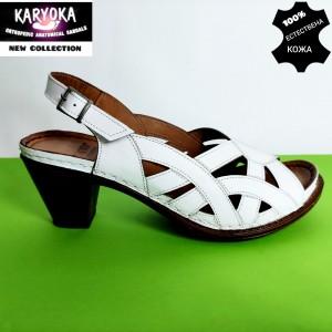 Мод:465 KARYOKA-сандали от естествена кожа на ток