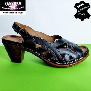 Мод:465-черно KARYOKA-сандали от естествена кожа на ток