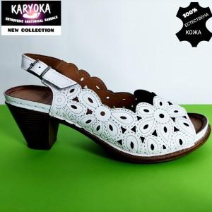 Мод:459 KARYOKA-сандали от естествена кожа на ток