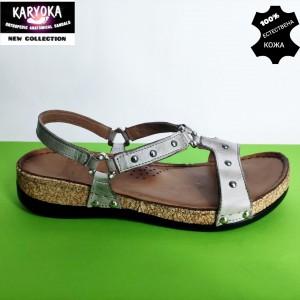 087-т.бежово- KARYOKA ниски ортопедични кожени сандали