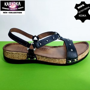 087-черно- KARYOKA ниски ортопедични кожени сандали
