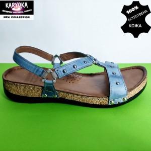 087-синьо- KARYOKA ниски ортопедични кожени сандали
