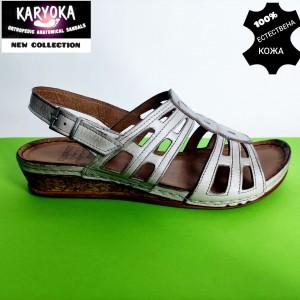 386-тъмно бежово-KARYOKA ниски  кожени сандали