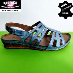 386-сини-KARYOKA ниски кожени сандали