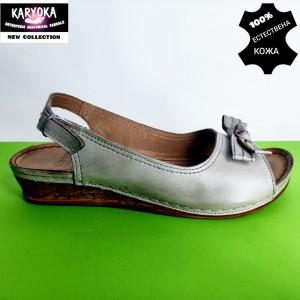 386-А-бежово KARYOKA ниски кожени сандали